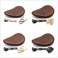 Motorcycle Retro Leather Old School Solo Saddle Seat Brown+3 Spring Bracket Mounting Base for Cafe Harley Custom Chopper Bobber
