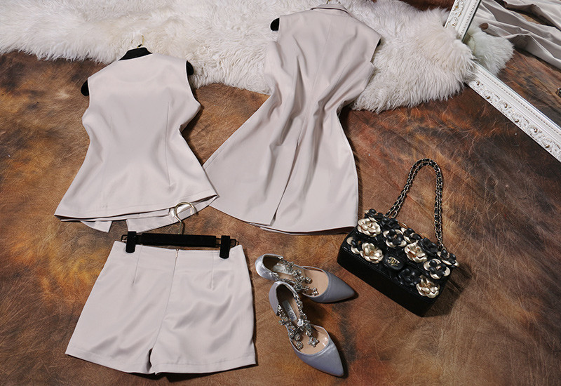 Runway Style 3 Piece Blazer Shorts Women Suits (9)