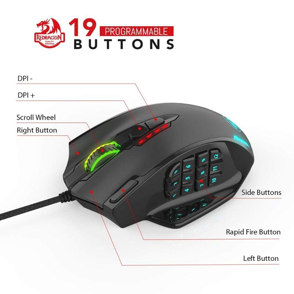 Image 2 - Redragon M908 12400 точек/дюйм ударная игровая мышь 19  программируемых кнопок RGB LED Лазерная проводная мышь MMO высокоточная  мышь PC Gamer-in Мыши from Компьютеры и офисная техника on AliExpress