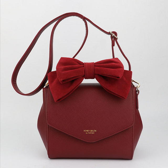 2018 New Honey Salon Women s Handbags Fashion Bowknot Shoulder Bags Lady  Leather Messenger Crossbody Bags Black Pink Red -in Top-Handle Bags from  Luggage ... e967a20d8e8ea