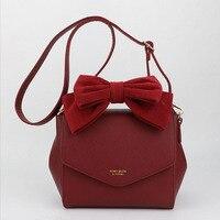 2018 New Honey Salon Women's Handbags Fashion Bowknot Shoulder Bags Lady Leather Messenger Crossbody Bags Black Pink Red