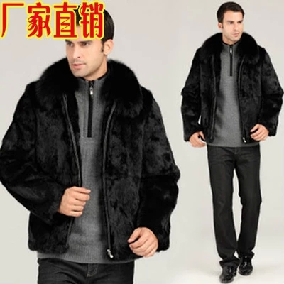 ФОТО S/3Xl Men'S Casual Long Mink Fur Jacket Black Plus Size Leather Grass Fox Fur Collar Slim New Winter Coats Warm Overcoats S2125