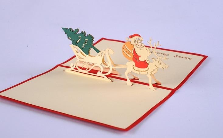 5pcslot 3D Pop Up Gift Card DIY Drawing Christmas Card