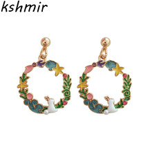 Original bunny ears circular fashion earrings The stars of the moon Ms cherry production stud wholesale