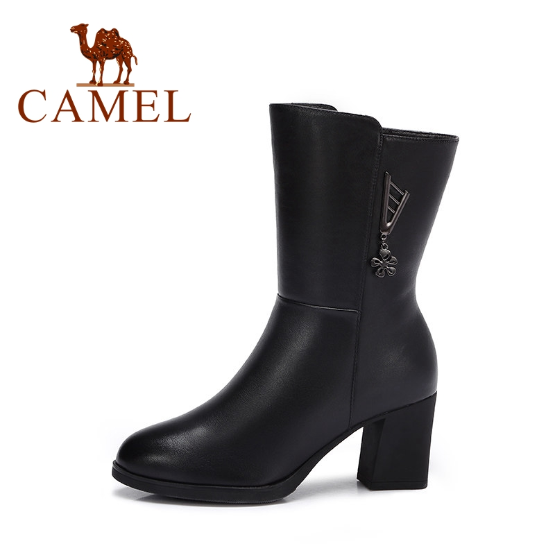 CAMEL New Winter Short Boots Women Ankle Leather High Heel Slip On Boots For Women Fashion Shoes Women Sexy Round Toe Party Wlid стоимость