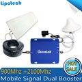 NOVO 1 conjunto de Alto ganho Dual band GSM 900 Mhz 3G WCDMA 2100 MHZ Mobile Phone Signal Booster, 2G 3G amplificador de Sinal/Booster
