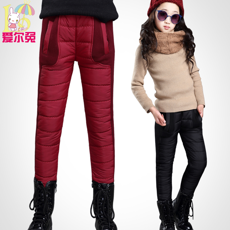 ФОТО Children's clothing female child 2017 winter child trousers big boy girl thickening plus velvet trousers baby warm pants