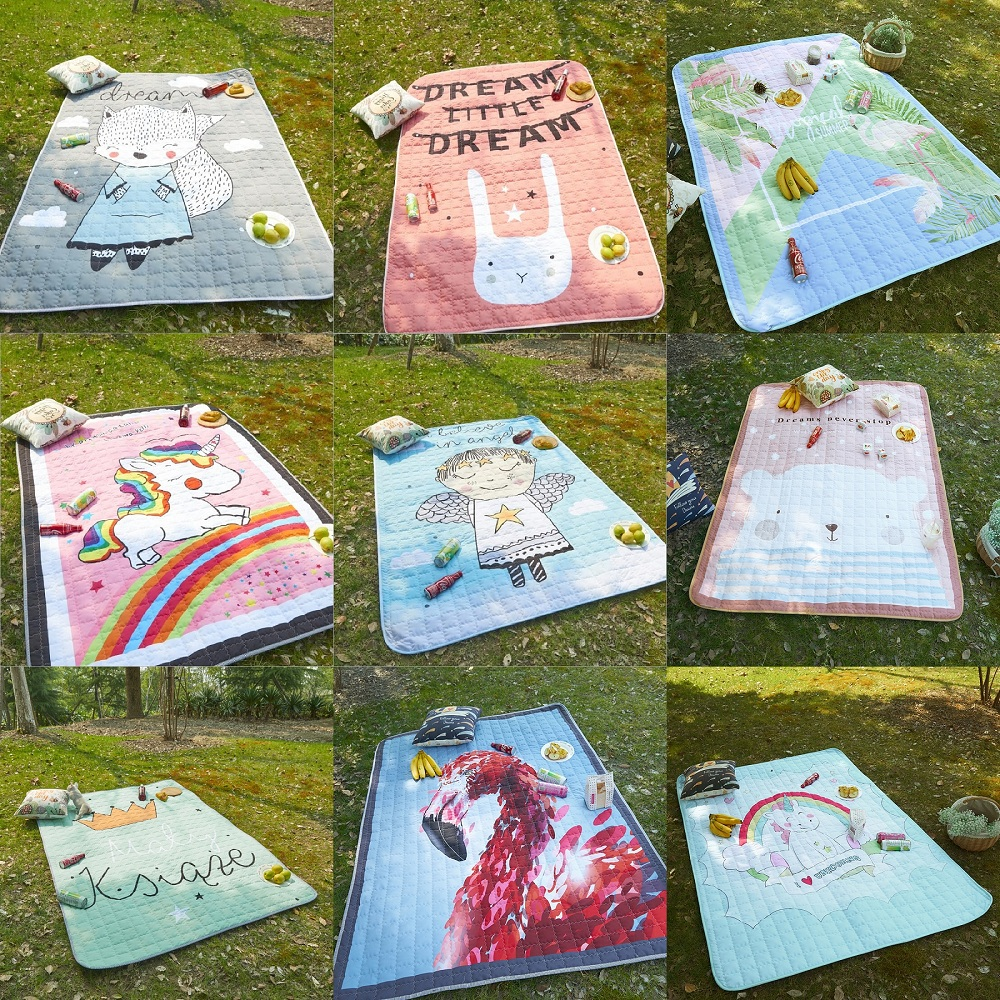 Cute Cartoon Pattern Water-proof Baby Play Mats Multi-function Blanket Nordic Style Kids Room Home Decor Photo Props Picnic Mat
