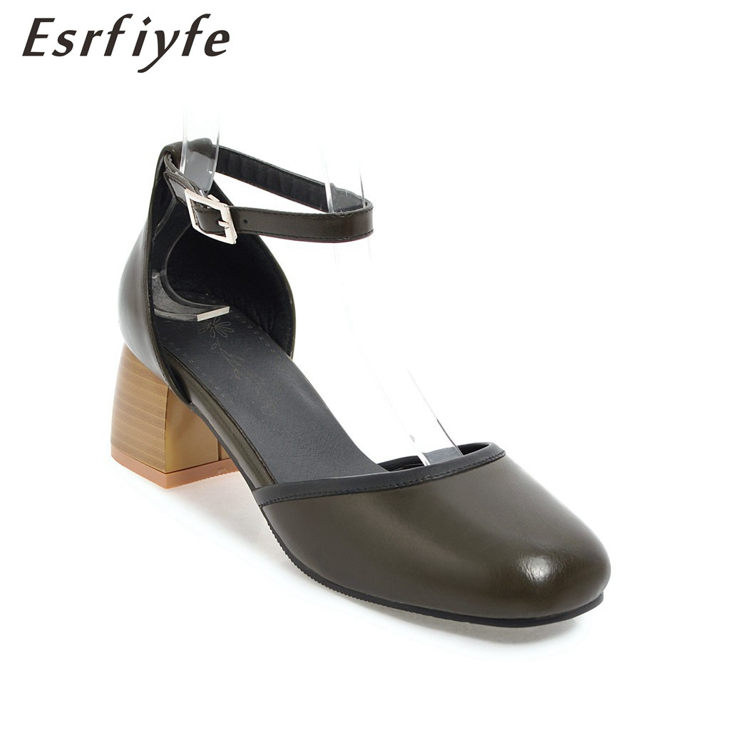 ESRFIYFE 2018 New Summer Women Fashion Sandals Buckle Square High Heels Square Toe Shoes Women Party Shoes Causals Sandals