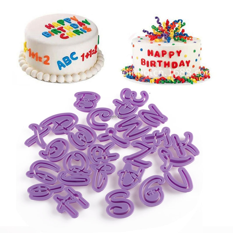26Pcs Alphabet Set Cake Letter Fondant Decor Biscuit Cookie Cutter Birthday Mold cake decorating tools kitchen Accessories Mar