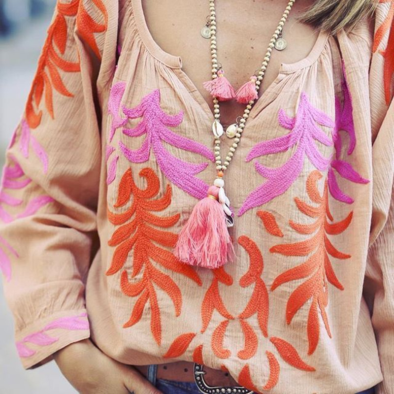 Dongmu Jewelry  2018  Bohemian  New Shell Fringe Long Necklace Wooden  Beads  Fashion  Women  Accessories  Summer 7 Colors
