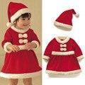 2016 Новый 1-2 лет девочка зимой платье рождество Красный санта маленькие девочки платья с длинным рукавом малыша девушка одежда детская костюм