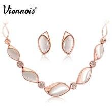 Viennois, conjunto de joyas de ópalo cremoso de oro rosa para mujer, diamantes de imitación de ojo de gato, pendientes de piedra, collar, conjunto de fiesta de boda