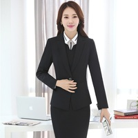 Plus Size 4XL Professional Slim Business Suits With 3 Piece Blazer Dress Blouse For Ladies Office