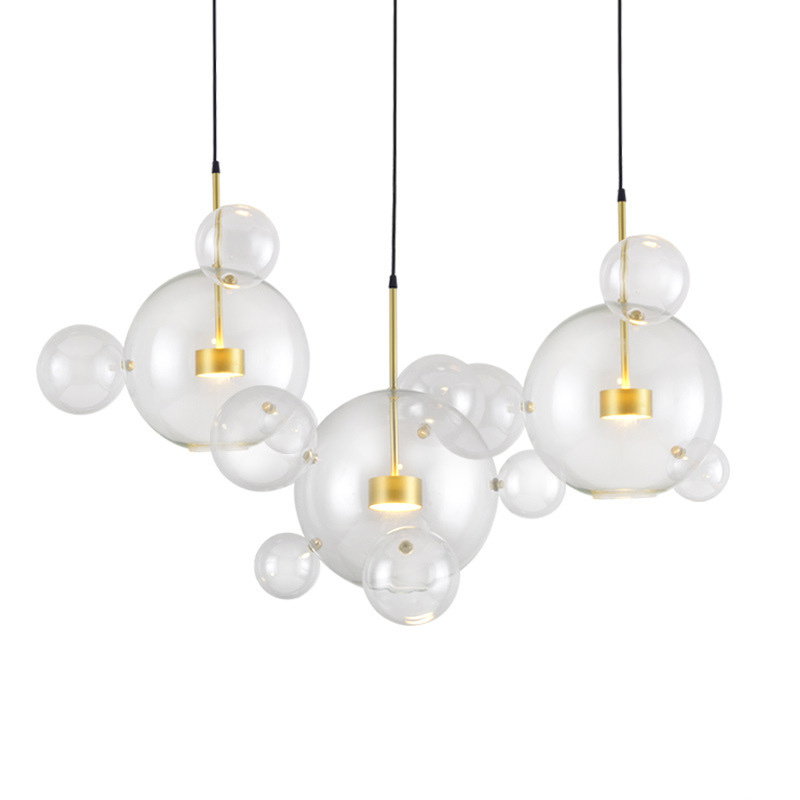 Modern Creative Glass Bubble Pendant Light Contemporary Hanging Clear Glass Bubble LED Pendant Lamp Indoor Lighting Fixture modern creative led pendant light clear glass living dining room bedroom home decoration toolery bubble led hanging lamp fixture