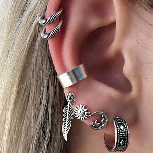 Clip Earrings Silver Color Punk Style Vintage Earrings Ear clip for Women 7 PCs Set 5