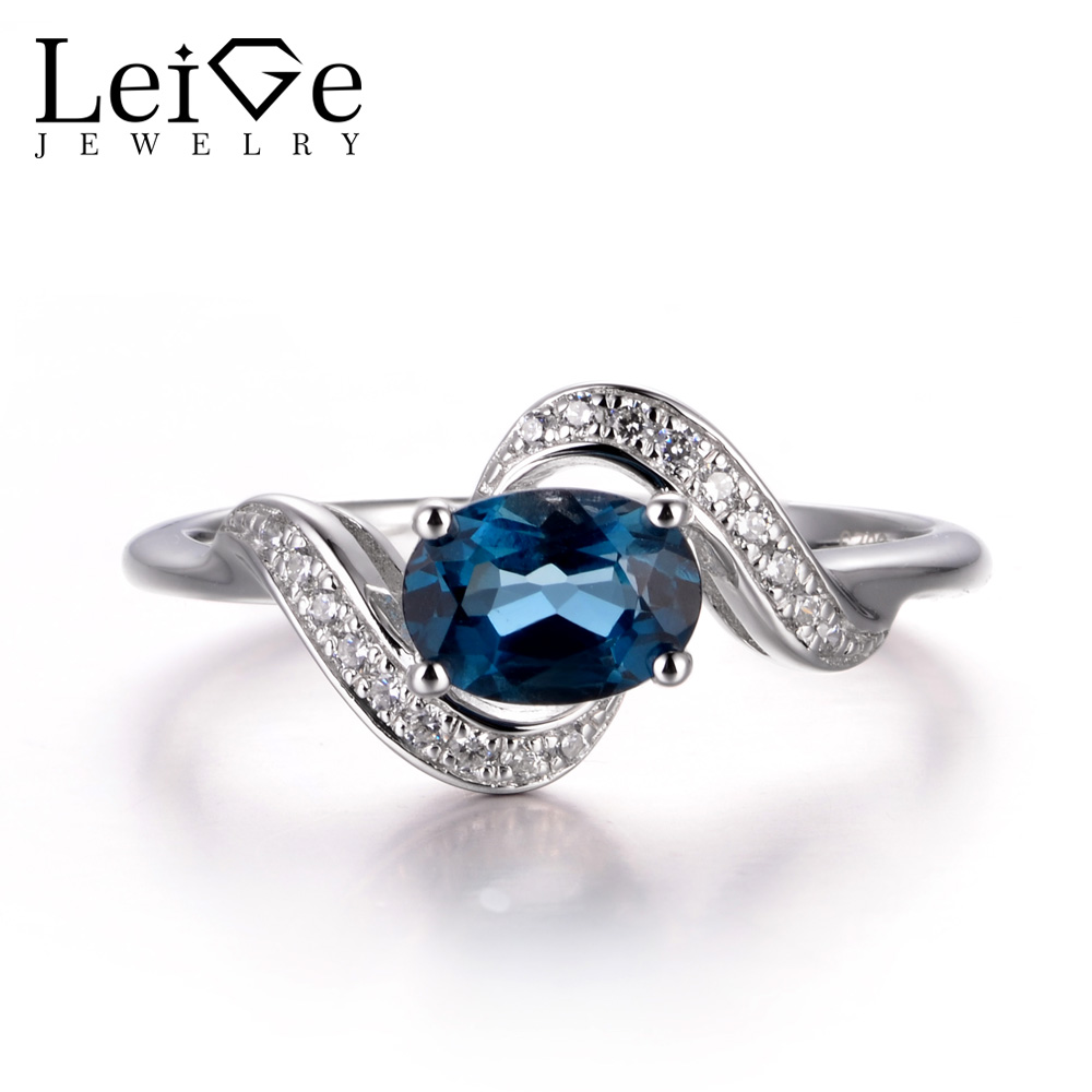 LeiGe Jewelry November Birthstone Rings Real London Blue Topaz Rings Cocktail  Rings Oval Cut Rings 925 Sterling Silver Gifts