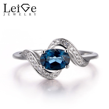 LeiGe Jewelry November Birthstone Rings Real London Blue Topaz Rings Cocktail Rings Oval Cut Rings 925 Sterling Silver Gifts фото