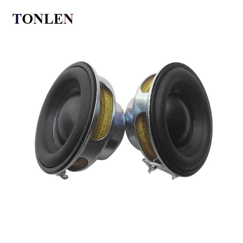 TONLEN 2Pcs 40mm Full Range Speaker 1.5inch 5W 4ohm HiFi Rubber Side Speakers DIY Portable Bluetooth Speaker Mini Music Speakers