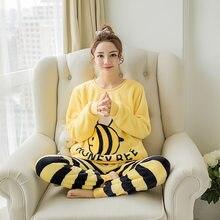 44348e489 Pijamas de mujer Otoño e Invierno conjuntos de terciopelo Coral cálido  grueso traje de franela de