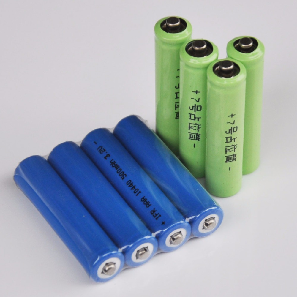 4PCS IFR 3.2v 10440 LiFePo4 rechargeable battery 500mah AAA lithium ion cell + 4pcs fake battery for digital camera toys image