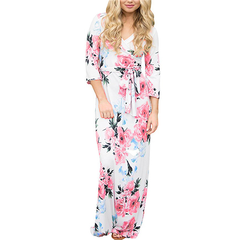 new <font><b>2019</b></font> <font><b>Dress</b></font> Summer <font><b>Women</b></font> Floral Print Maxi <font><b>Dress</b></font> <font><b>Sexy</b></font> Deep V-neck Bandage Bodycon Sundress Evening Party Beach White <font><b>Dress</b></font> image