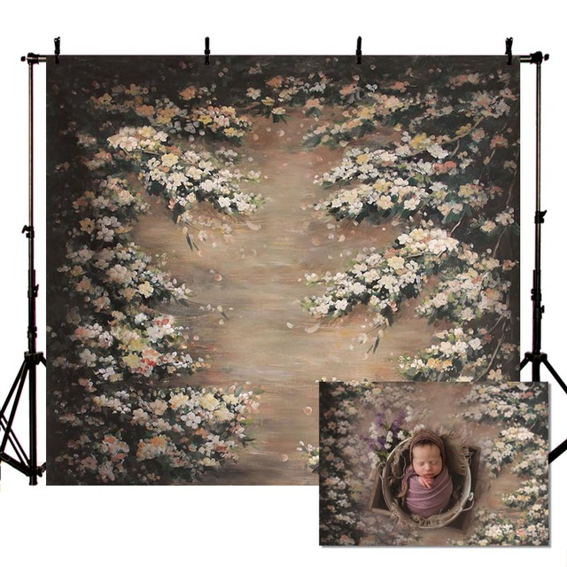 Vinyl Photography Backgrounds Oil Printing Floral Flower Spring Vintage Children Baby Decor Backdrop Booth Photocall Studio