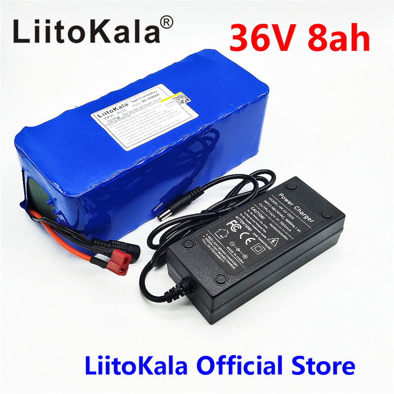 LiitoKala 36V 8ah 500W 18650 lithium battery 36V 8AH Electric bike battery with PVC case for electric bicycle 42V 2A charger liitokala 36v 6ah 10s3p 18650 rechargeable battery pack modified bicycles electric vehicle protection with pcb 36v 2a charger
