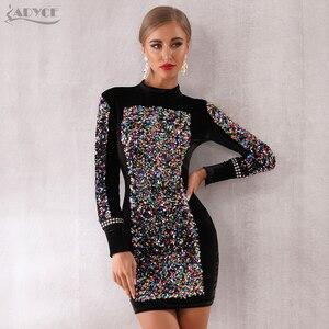 Image 4 - Adyce 2020 nowa jesienna kobiety luksusowe Celebrity wieczór Runway Party Dress Vestidos Sexy czarna z długim rękawem cekinami Mini sukienka klubowa