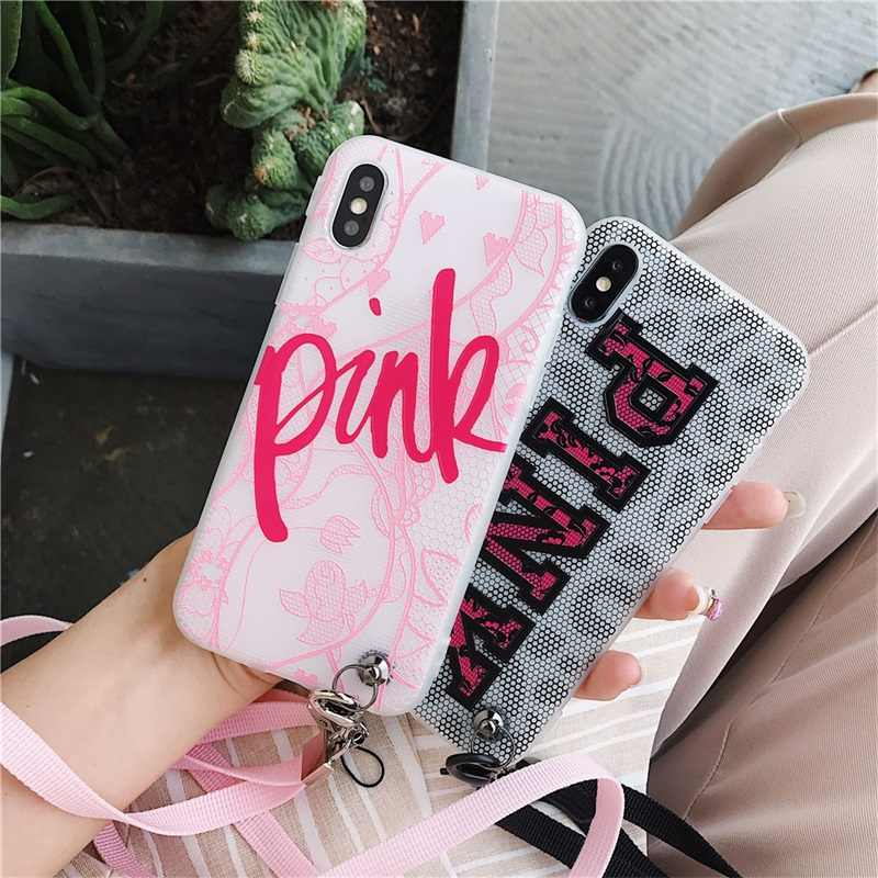 INS Victoria Kant Case voor iPhone X XS Max XR 8 7 6s 6 Plus Fashion Leuke Roze Sexy kant Soft Silicon TPU Telefoon Cover Secret