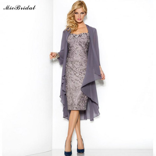 b5ce12f7ba US $94.0 |MicBridal Slim Sheath Grey Mother Of The Bride Dress Lace Knee  Length With Jacket Coat Formal Dress For Mom Vestido De Madrinha-in Mother  of ...