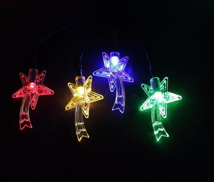 2pcs Solar Power LED Star Lamp Light multicolour String Strap For Garland Wedding Christ ...