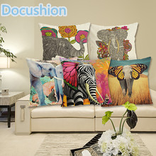 Fashion Colorful Elephant Printed Modern Minimalist Linen Cotton Cushion For Sofa Home Decorative Pillow Throw Almofadas