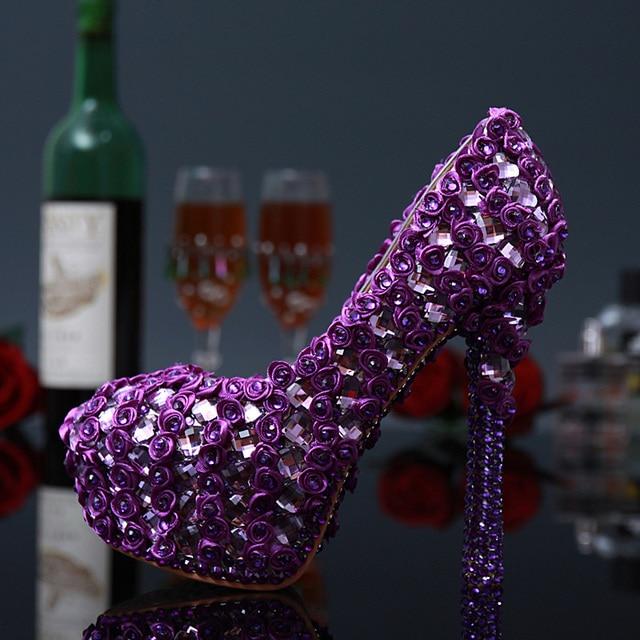 af348de9613fa New Arrival Fancy Purple Bridal Wedding Shoes Rhinestone High Heels Shoes  Woman Flowers Platform Shoes Pretty Sapato Feminino