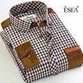 Hot marca de alta qualidade nova primavera dos homens casuais camisas de manga comprida xadrez patchwork clássico fit homens vestido de gola fashion clothing