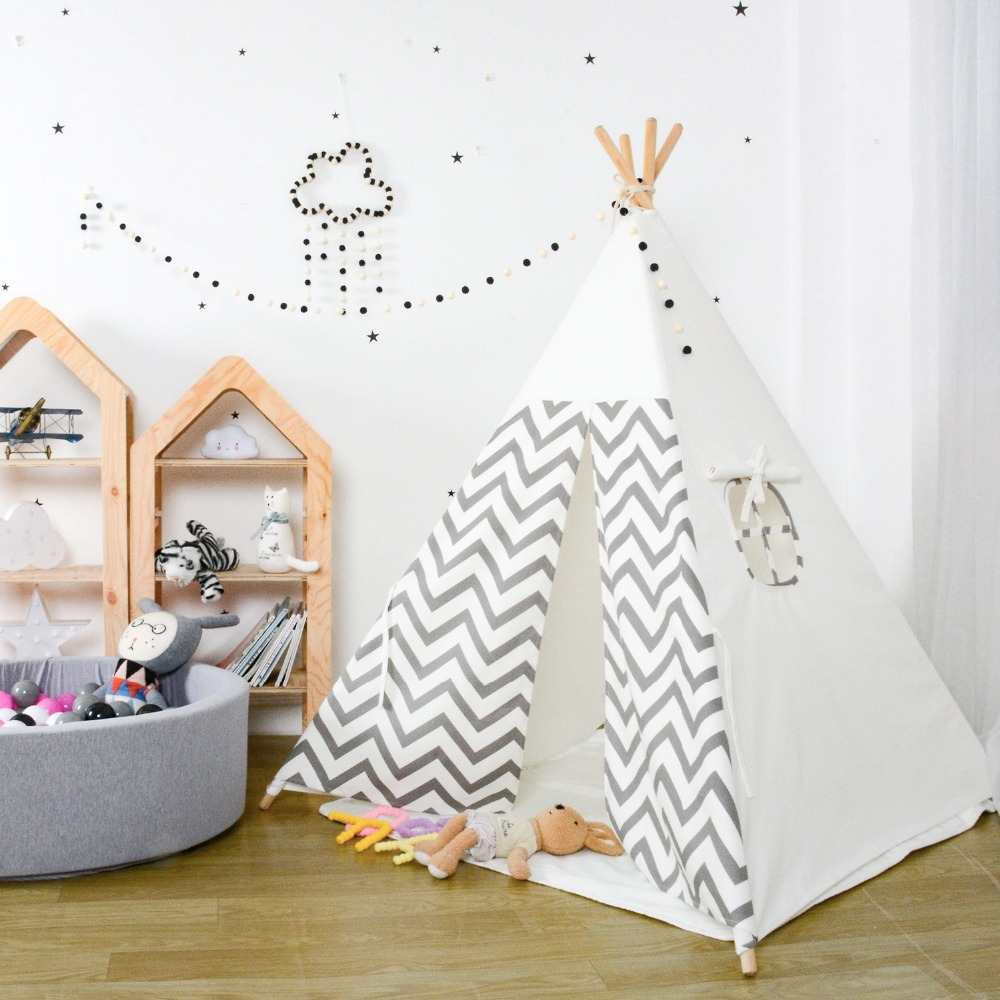 Kids Teepee Play Tent 100 Cotton Canvas Grey Stripe Children Tipi Playhouse Indoor Outdoor Toy Boys