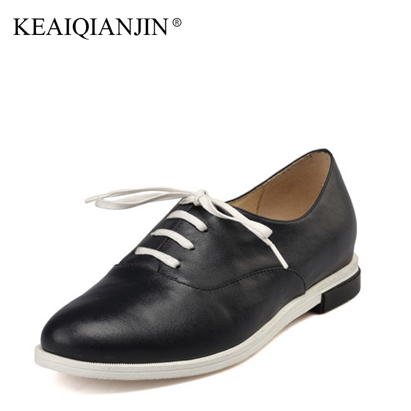 KEAIQIANJIN Woman Genuine Leather Flats Plus Size 36 - 41 Spring Autumn Derby Shoes Blue Lace Up Casual Genuine Leather Shoes keaiqianjin woman sheepskin flats black red silvery plus size 33 41 spring autumn derby shoes lace up genuine leather shoes
