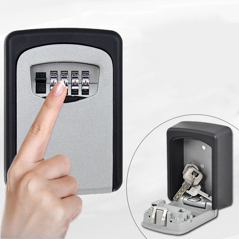 Zinc Alloy Secret Safe Lock Wall Mount Key Storage Box Organizer Security Keyed Door Lock with 4 Digit Combination Password