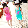 2015 летней девушки платье пляж ту платья детей свободного покроя хлопок цельный большая девочка отверстие костюм для 3-12Y малыш девочек розничная
