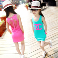 2015 summer girl dress beach tu tu dresses children casual cotton one-piece big girl hole costume for 3-12Y kid girls retail