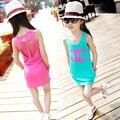 2015 verão vestido de praia vestidos de crianças de algodão traje de uma peça grande buraco para 3-12Y crianças meninas varejo