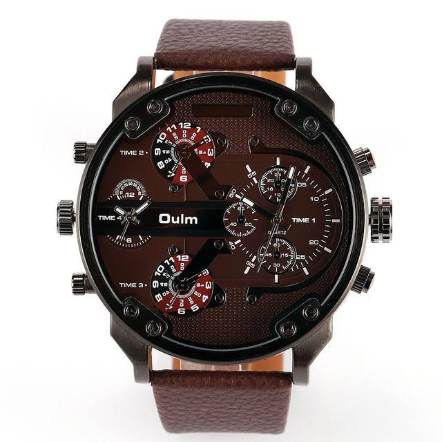 518b6940e503 2018 High Quality Dual Time Military Big Face Japan Movement Oulm Brand  Luxury Leather Quartz Sports Men Wrist Watch Relojes Hot