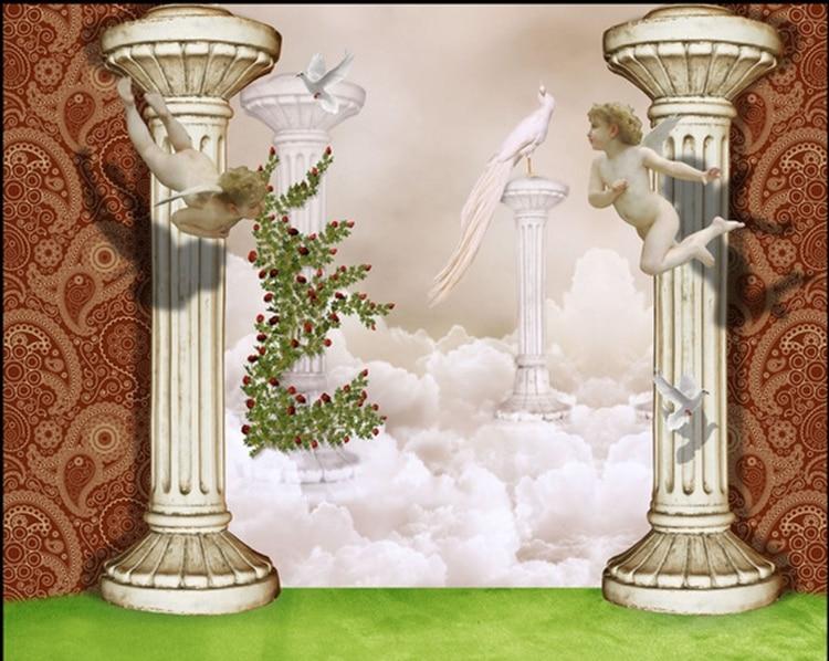 room dining mural 3d angel children fantasy wall stereo rome column custom