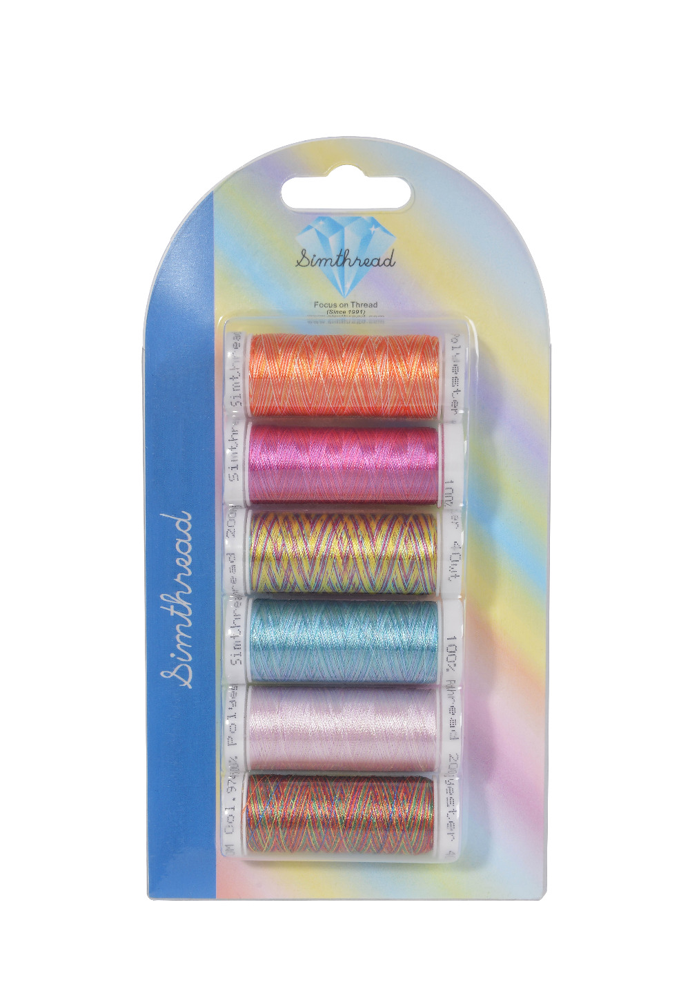 SIMTHREAD Multi-colored Polyester Embroidery Thread, 300M/bobbin, 6pcs/kit - For Brother, Babylock, Janome, Singer EMB Machines