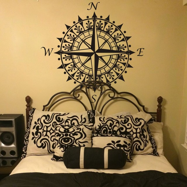 Nautical Compass Wall Decal Vinyl Wall Art Graphic Sticker Home Decoration  Office Wall Decor Removable Mural