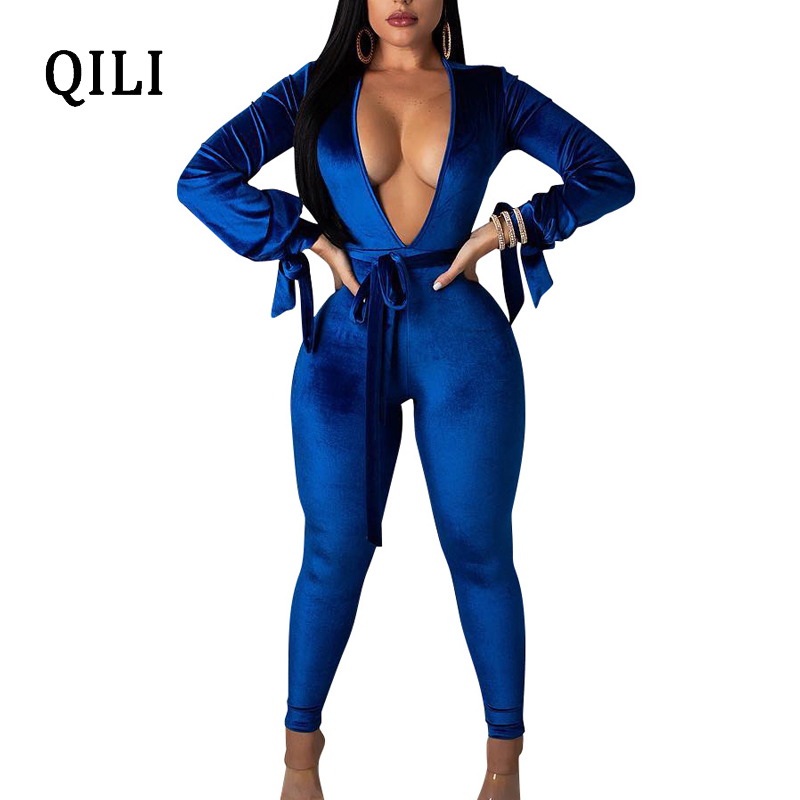 QILI New Arrivals Autumn Winter Velvet Jumpsuits Women Long Sleeve Sexy V-neck Hollow Out Bodycon Jumpsuit Romper For