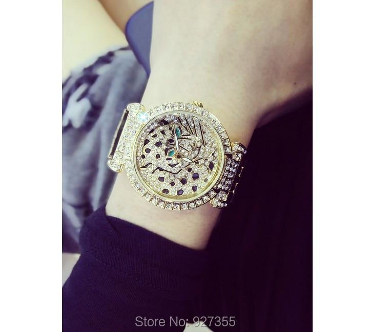 Luxury Women Rhinestone Watches Lady Diamond Dress Watch Stainless Steel Band Leopard Bracelet Wristwatch ladies Crystal Watch 2
