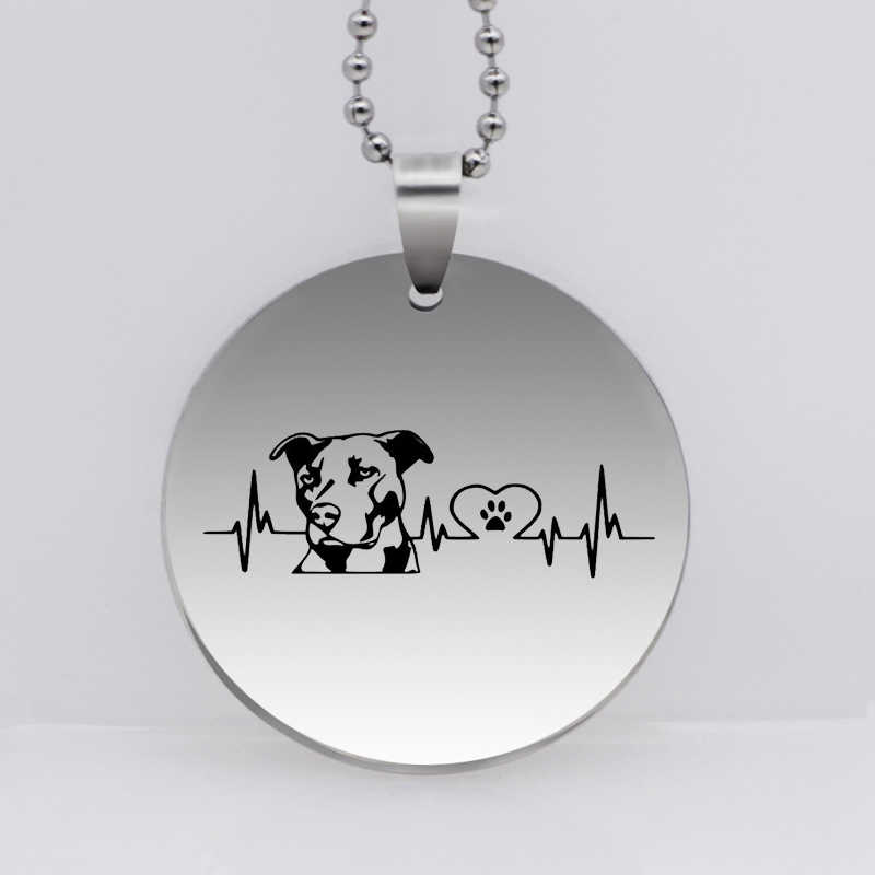 Stainless Steel Personality Pitbull Gog Pendant Necklace Funny Heartbeat Dog Jewelry Gift  Drop Shipping YLQ6159