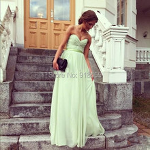 Fashion Formal Dresses Sweetheart A-line Floor Length Ruffle Chiffon Bridesmaid Dresses Gowns