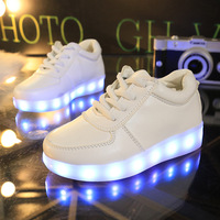 Size 26 35 // USB Rechargeable Bicycle Basket Filled Light Fill Light Children Shoes Male Girls LED Light Casual Shoes